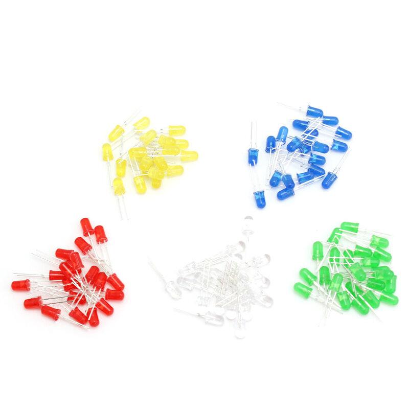 100 قطعة F5 5 مللي متر LED ديود الخفيفة الأحمر/الأصفر/الأزرق/الأبيض/الأخضر Led ديود حلو كيت 5 مللي متر المصابيح الباعثة للضوء الإلكترونية diy مجموعة