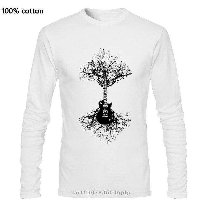 شجرة الغيتار الكهربائي رجالي تي شيرتات عجيبة الصوتية باس موسيقى الروك الفرقة سلاسل