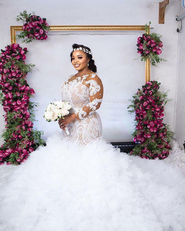 حجم كبير فساتين زفاف دانتيل زين الكشكشة تول سويب تراين حورية البحر زي العرائس جنوب أفريقيا كم طويل رداء دي ماري