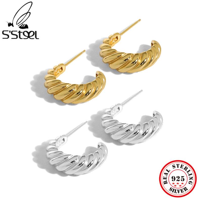 أقراط ذهبية بسيطة من S'STEEL أقراط فضة استرلينية 925 هدية للسيدات أقراط صغيرة شخصية مجوهرات رائعة