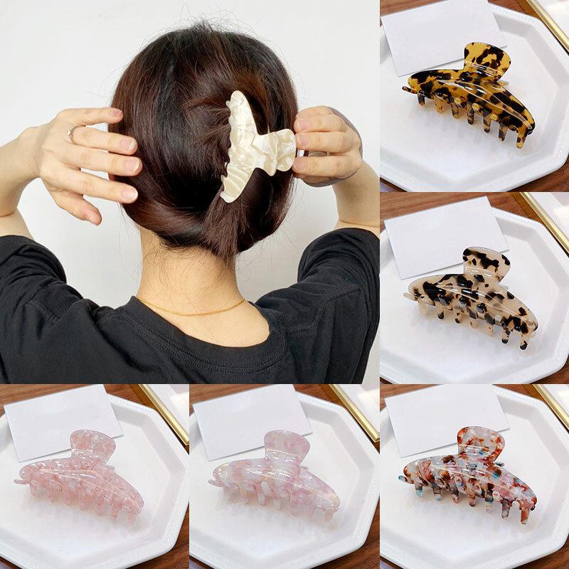 Acrylic Hairpins Large Hair Claws Spring Women Girl Hair Accessories Acetate Leopard Print Hair Crab Clamp Vintage Hair Clip