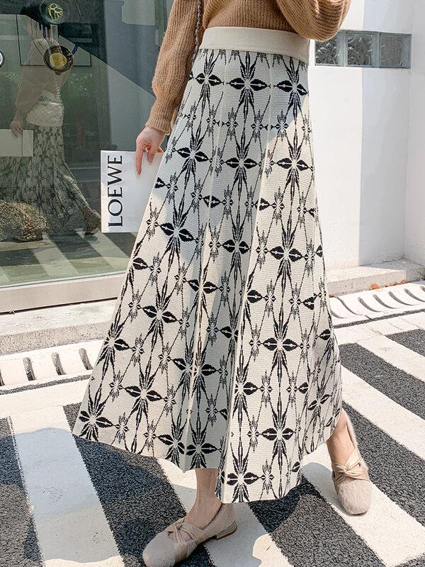 TIGENA خمر محبوك ميدي تنورة للنساء 2021 الخريف الشتاء الكورية الأزهار طباعة كل مباراة خط عالية الخصر تنورة طويلة الإناث