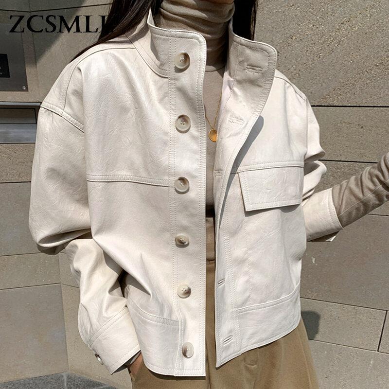 ZCSMLL كل مباراة الوقوف الرقبة واحدة الصدر فضفاض بولي Coat معطف طويل الأكمام جلد عادي دراجة نارية سترة الكورية الخريف بسيط