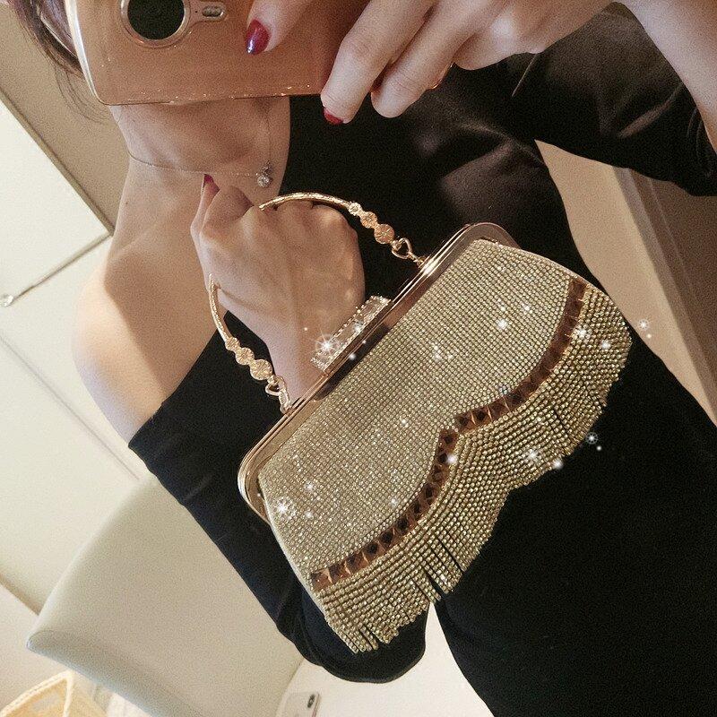 المرأة الزفاف حقيبة صغيرة فاخرة حجر الراين شرابة حقيبة يد مأدبة الذهب مساء حقيبة حفلة محفظة سلسلة حقيبة كتف ZD1776