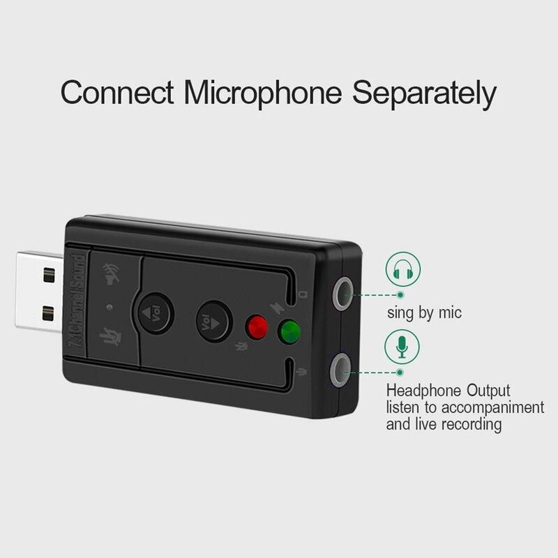 7.1 خارجي USB كارت الصوت USB إلى جاك 3.5 مللي متر سماعة محول الصوت الرقمي ميكروفون كارت الصوت لماك