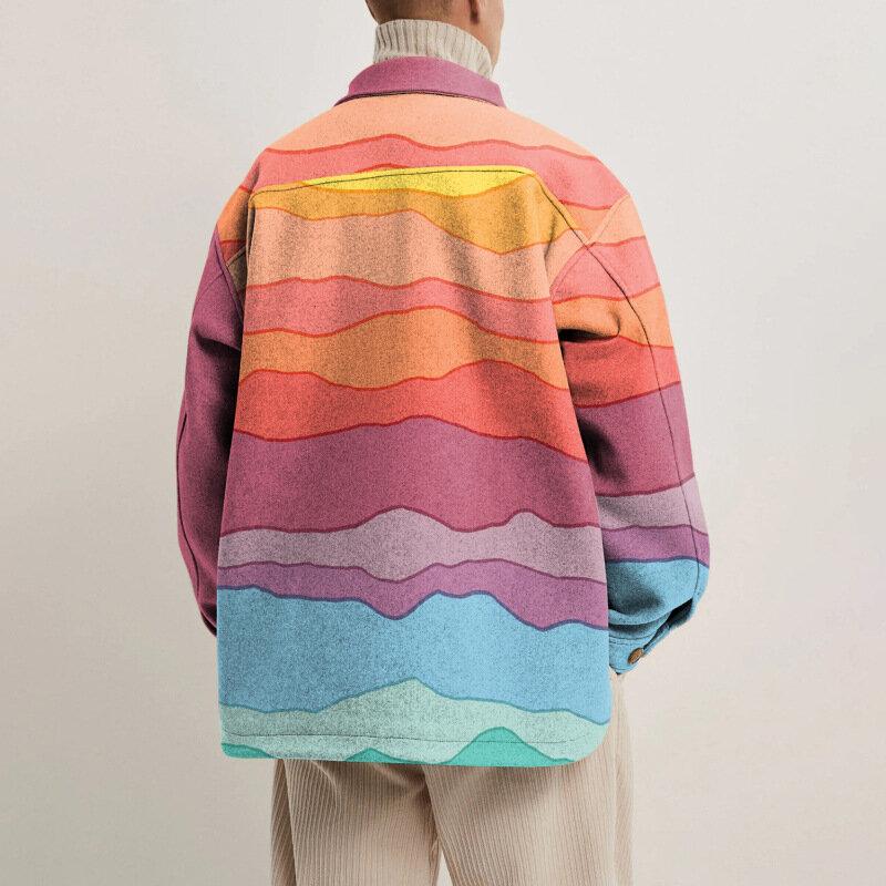 جاكيتات رجالية من Kalenmos جواكت فضفاضة غير رسمية بألوان قوس قزح مع خياطة وألوان متباينة جاكيت رجالي بصدر واحد معطف فضفاض
