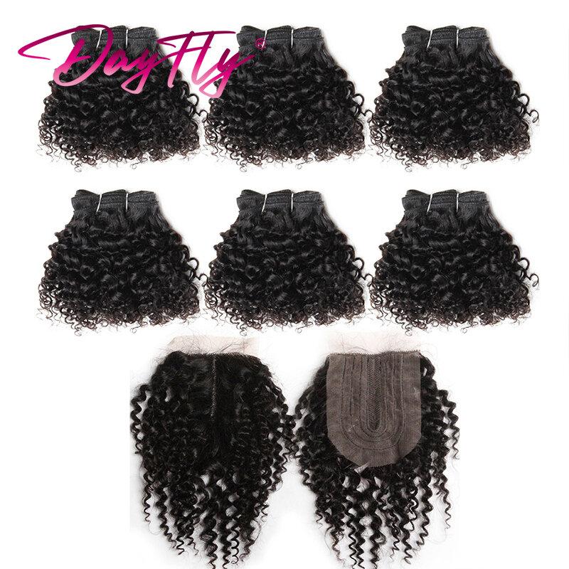 خصل شعر بشري منغولي مموج مع خصلات شعر مجعد أفريقي مع 4*1 مصنوعة من الدانتيل نصف آلة