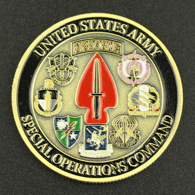 جيش الولايات المتحدة قيادة العمليات الخاصة تذكارية عملة برونزية مطلي التحدي عملة المشجعين العسكرية تحصيل عملة