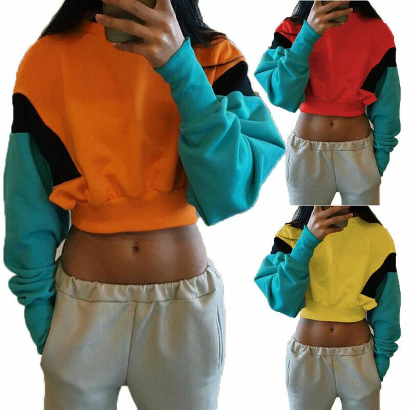 المرأة كولوربلوك المحاصيل بلوزة قصيرة البلوز البلوز موضة غير رسمية الخريف 2021 المرقعة القماش للمرأة ارتداء بلوزة دافئة