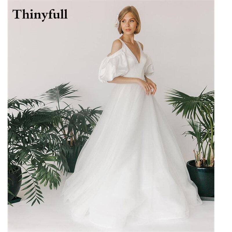 Thinyfull 2021 فساتين زفاف بسيطة على شكل حرف a طويلة قبالة الكتف الظهر الدانتيل يصل بلا أكمام شاطئ الأميرة رداء حفلات الزفاف