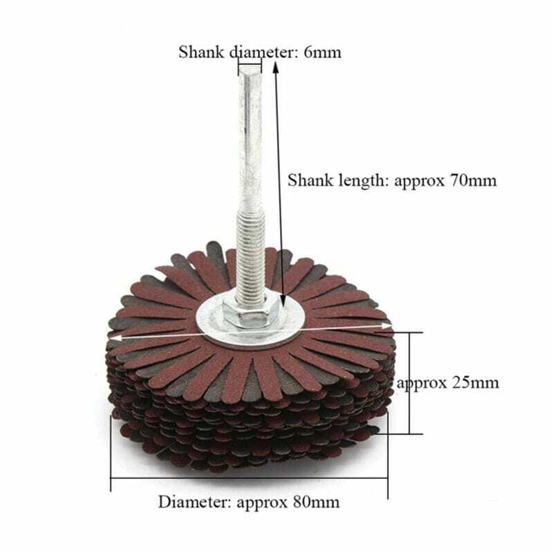 1 قطعة 6 مللي متر الرملي عجلة برفارف الصنفرة سلك طحن عجلة شعاعي جلخ فرشاة تلميع للخشب غير النظامية سطح 80-400Grit