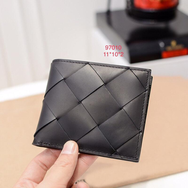 محفظة جلدية قصيرة للرجال من LUYI ، ماركة فاخرة ، سلسلة كلاسيكية ، وضع متعدد البطاقات ، أزياء غير رسمية ، محفظة كلاسيكية مضفرة