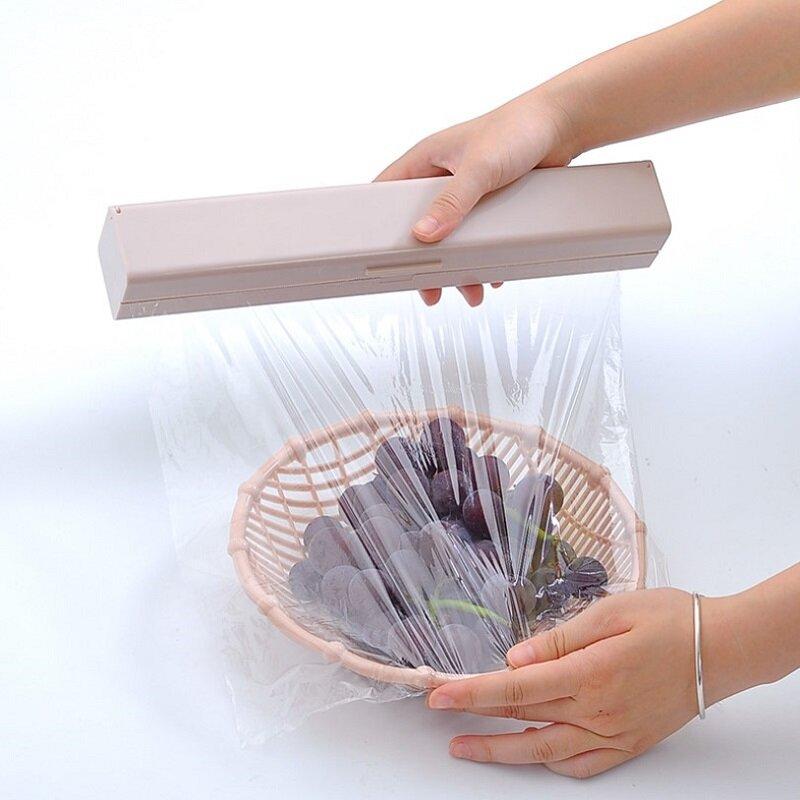 جديد لكمة خالية تحديد موزع تزيين الطعام القاطع احباط غشاء تغليف موزع التفاف البلاستيك شارب القاطع تخزين حامل المطبخ أداة