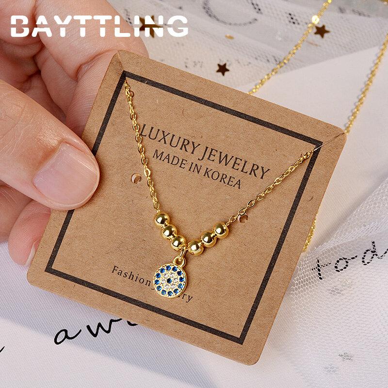 BAYTTLING 925 فضة 18 بوصة سلسلة الذهب غرامة مستديرة دلاية من حجر الزركون قلادة للمرأة زوجين حفل زفاف هدية مجوهرات