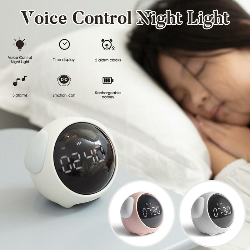 منبه بالتعبير لطيف ، متعدد الوظائف ، تحكم صوتي ، ضوء ليلي ، قابل لإعادة الشحن ، للأطفال ، جديد 2021 ، Clock100500