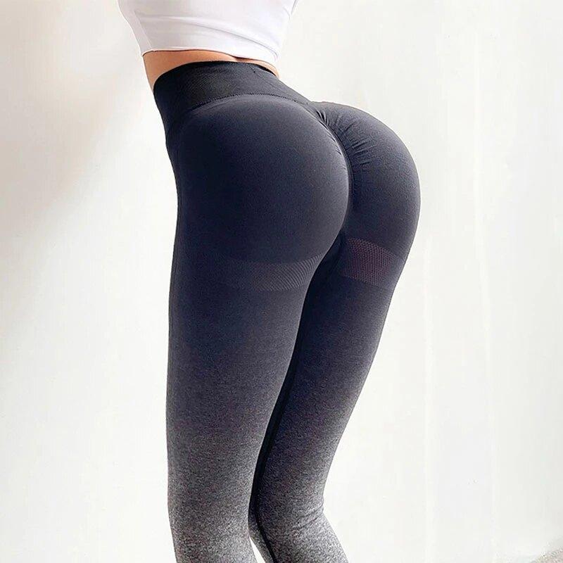 بنطلون نسائي عصري متدرج للصالات الرياضية بخصر مرتفع لممارسة تمارين اللياقة البدنية والجري سروال رياضي جديد سلس