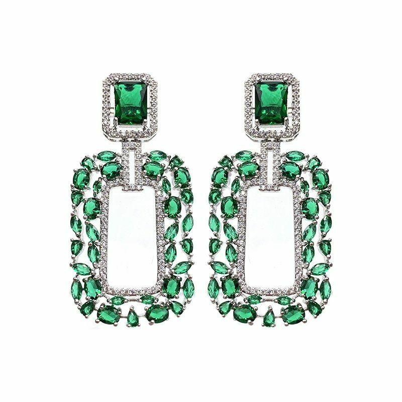 الأخضر الزركون ساحة أقراط غير النظامية كسر الزركون تصميم الخيال الأخضر قطرة الماء الفاخرة الغنية امرأة أقراط مجوهرات