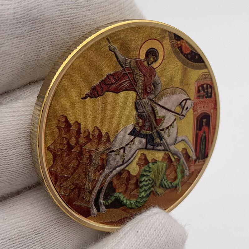 الروسية سانت جورج مطلية بالذهب لون الطباعة تنقش تذكارية تحصيل عملة هدية محظوظ التحدي عملة