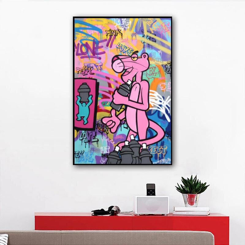 لوحات فنية للشارع على الجدران ملونة وردية اللون على شكل لوحة قماشية بطبعات فنية على الجدران صور لغرفة المعيشة ديكور للمنزل Cuadros