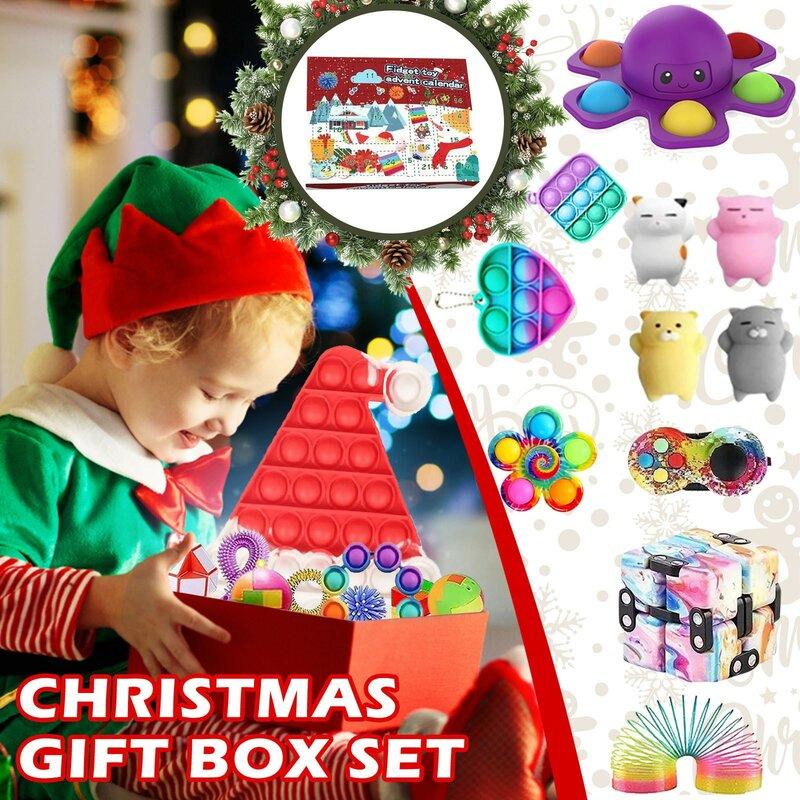 ألعاب متململة مجموعة تقويم القدوم عيد الميلاد مع 24 مكافحة الإجهاد اللعب حزمة صندوق أعمى مكافحة لعبة لتخفيف الضغط ل هدية الكريسماس