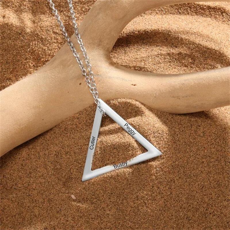 شخصية قلادة من الفولاذ المقاوم للصدأ متعددة اسم قلادة مخصصة حلقة مثلثية قلادة قلادة 2021 الاتجاه
