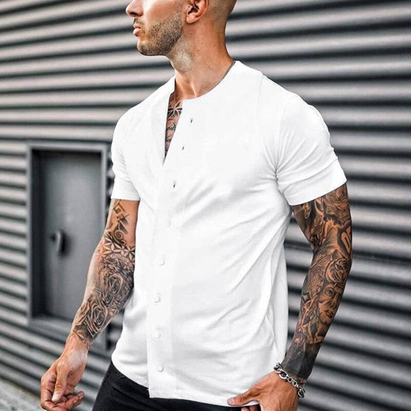 قمصان صيفية للرجال بأكمام قصيرة متينة 2021 على الموضة بأزرار وياقة ثابتة قميص رجالي كارديجان ضيق عتيق ملابس الشارع