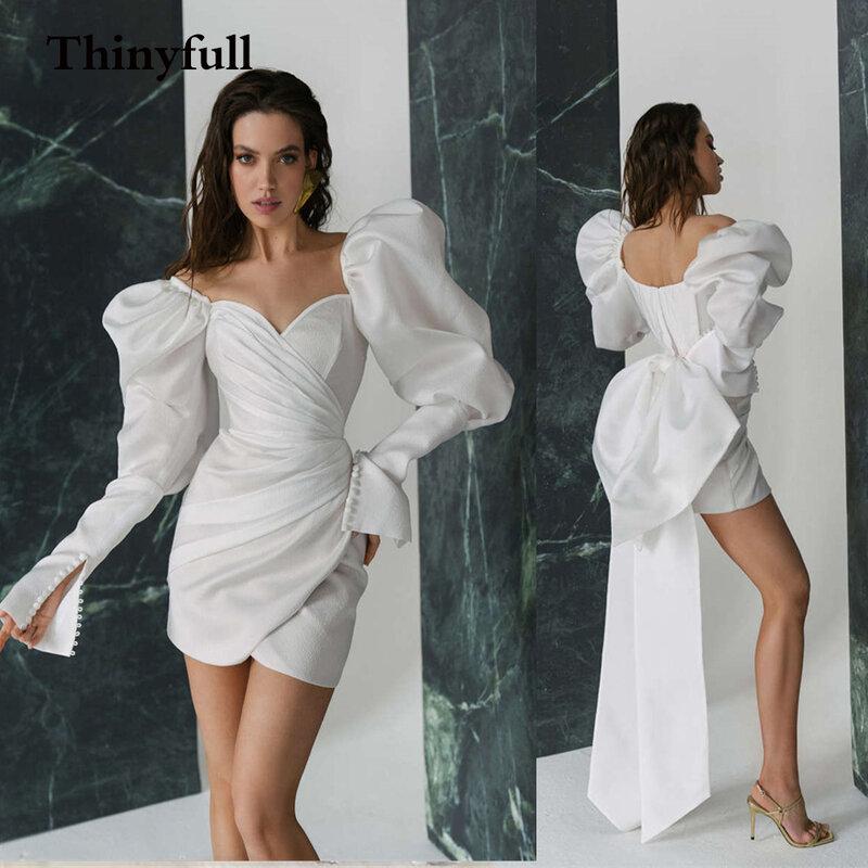Thinyfull نفخة الأكمام طويلة القوس فساتين زفاف صغيرة بوهو الحبيب زر بسيط شاطئ زي العرائس فستان عروس Vestidos