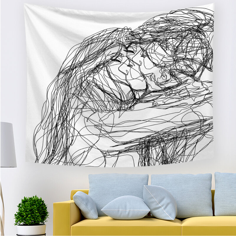 2021 نساء/رجال تقبيل نسيج ديكورات جدرانية خط ديكور فني للمنزل جميل الجسم رسم غرفة نوم غرفة المعيشة المسكن قماش مزخرف جداري