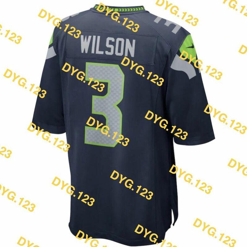 مخصص غرزة راسل ويلسون الرجال النساء طفل الشباب الأزرق الأبيض الأخضر سياتل لكرة القدم جيرسي
