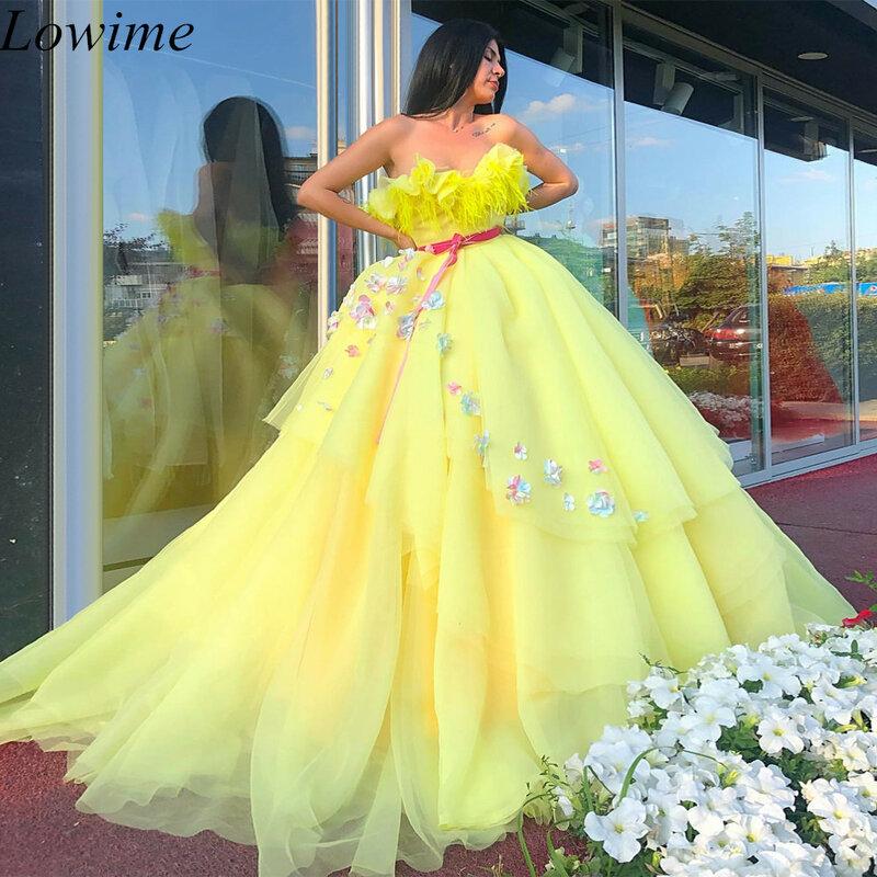 فستان سهرة طويل ، فستان عربي ، أصفر ، بدون حمالات ، دانتيل ، سجادة حمراء ، مقاس كبير ، مزين بالورود ، مجموعة 2019