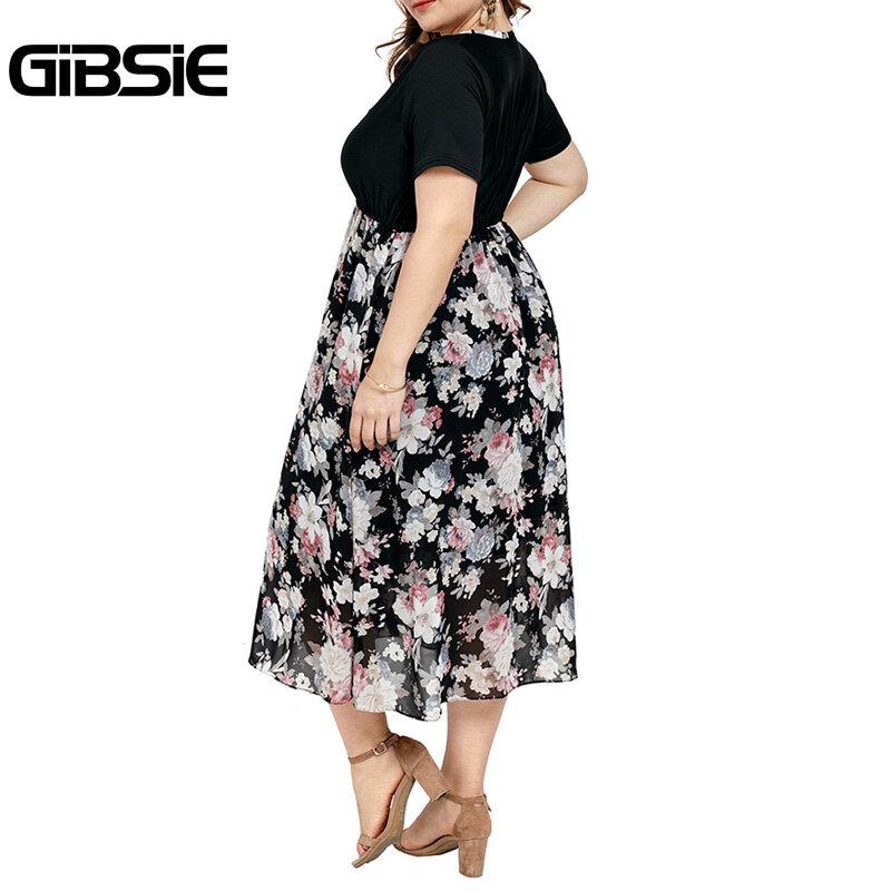 GIBSIE حجم كبير المرقعة الأزهار طباعة فستان المرأة أنيقة خمر فساتين متوسطة الطول 2021 الصيف الخامس الرقبة قصيرة الأكمام ألف خط فستان