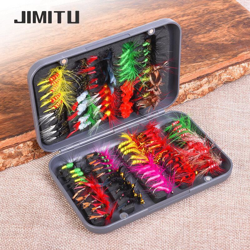 JUMITU 100 قطعة/المجموعة الحشرات الذباب يطير الصيد السحر الطعم عالية الكربون الصلب هوك الأسماك معالجة مع سوبر شحذ كرنك هوك