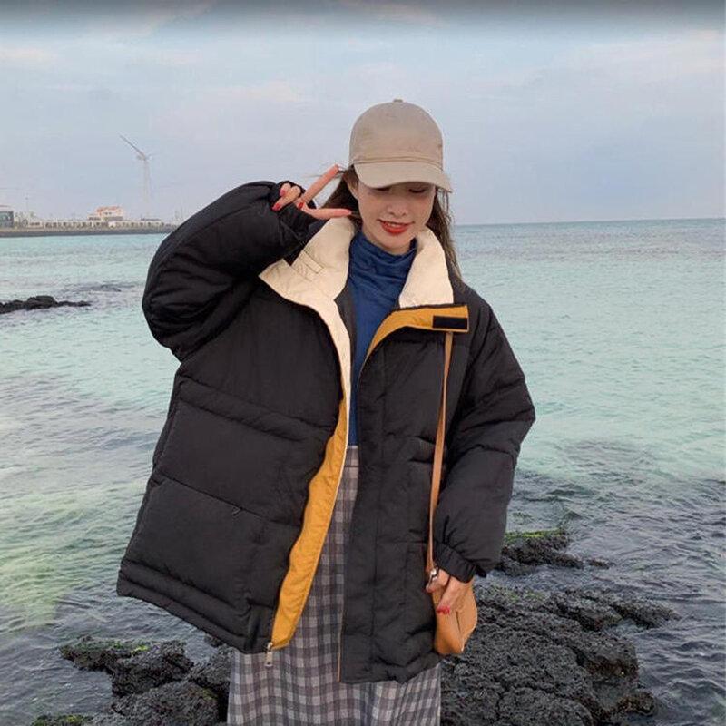 Sllsky اللون مطابقة سترة المرأة الوقوف طوق الفيلكرو شتاء جديد دافئ رشاقته فضفاض ماركة القطن سترات معطف سستة غير رسمية