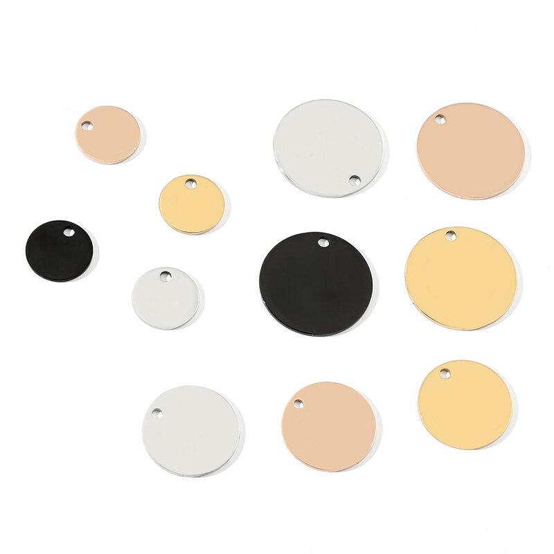 5 قطعة الفولاذ المقاوم للصدأ عدد لوحة المفاتيح قلادة فارغة مادة الليزر لوحة ترخيص كيرينغ طبق مستدير اكسسوارات بالجملة