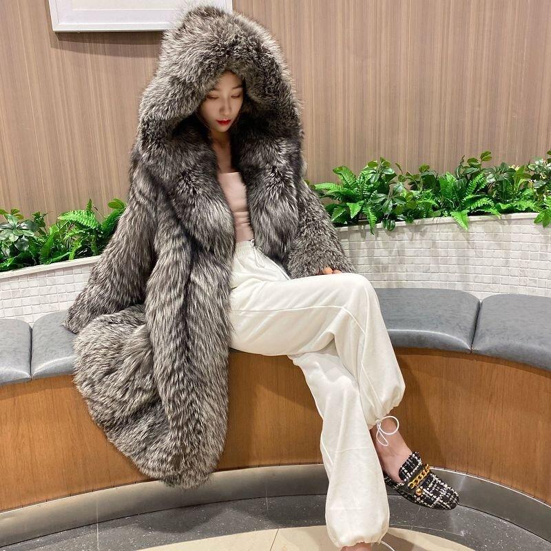 الخريف والشتاء جديد المرأة معطف الفرو تقليد الثعلب معطف فرو طويل موضة صافي الأحمر معطف مقنع سترة واقية الشتاء