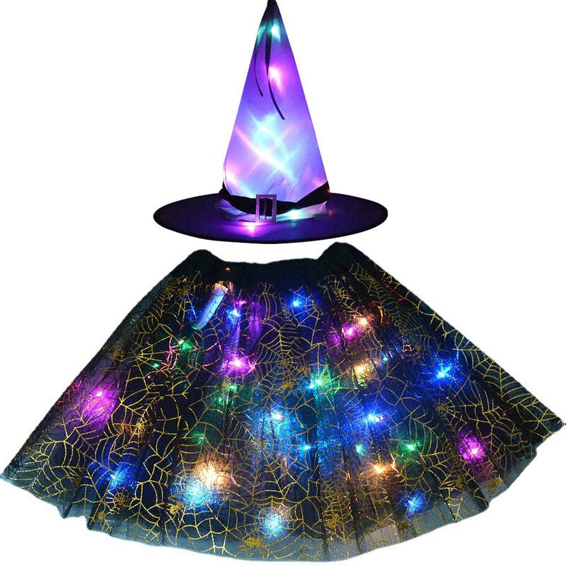 النساء الاطفال فتاة LED متوهجة تضيء قبعة الساحرات تنورة معالج تأثيري الدعائم حفلة عيد ميلاد هدية السنة الجديدة هالوين زي