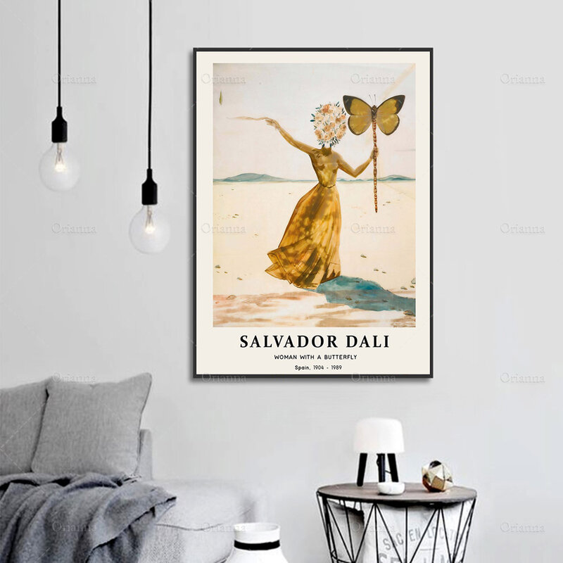 ملصق فني جداري حديث ، امرأة سلفادور دالي مع فراشة ، فن دالي ، طباعة فنية عتيقة ، دالي ، طباعة
