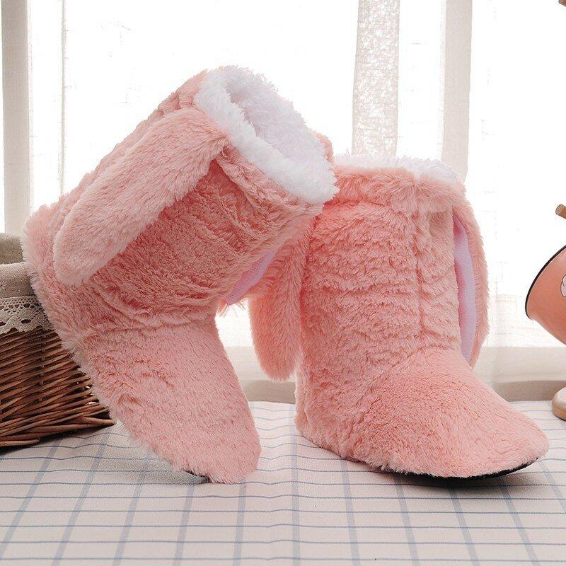 شبشب شتوي شبشب منزل النساء جورب مع الفراء الدافئة أفخم غرفة نوم الأحذية الصلبة النعال المنزل الدافئة لطيف الأذن أحذية الملاعب المغطاة
