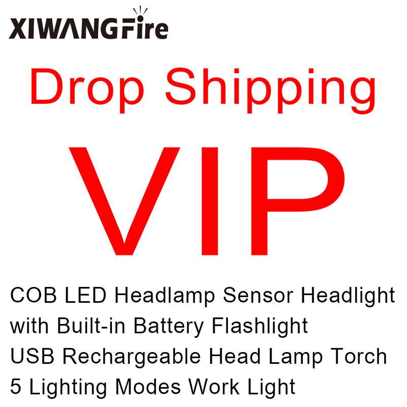 انخفاض الشحن VIP الاستشعار العلوي COB LED كشافات مع المدمج في بطارية مصباح يدوي USB الشعلة القابلة لإعادة الشحن 5 أوضاع الإضاءة