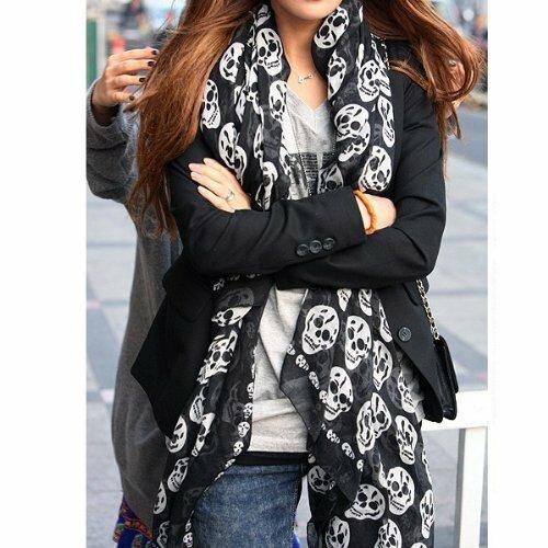أسود الشيفون وشاح بملمس الحرير الجمجمة طباعة موضة وشاح طويل شال Scaf التفاف للنساء كيرينغ
