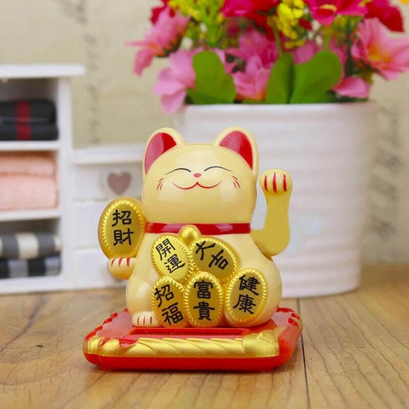 الصينية محظوظ الثروة يلوحون القط الذهب يلوحون اليد القط ديكور المنزل ترحيب يلوحون القط النحت تمثال ديكور سيارة زخرفة