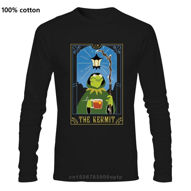 تي شيرت بطاقة التارو من Kermit تي شيرت ساحر العرافة Wiccan غامض بطاقة الناسك مضحك بطاقة التارو الفكاهة كيميت ميمي الميمات