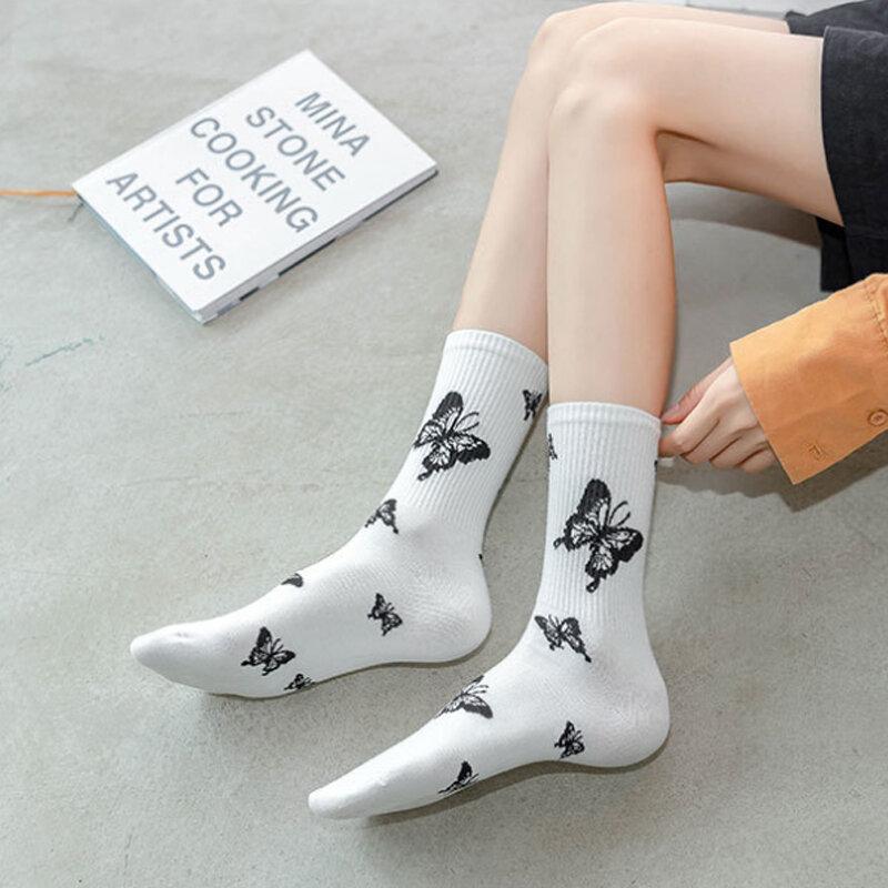 11 أنماط المرأة فراشة جوارب قطنية غير رسمية على الكاحل الجوارب الشارع الشهير الأسود Harajuku الهيب هوب سكيت الأبيض الجوارب الطويلة