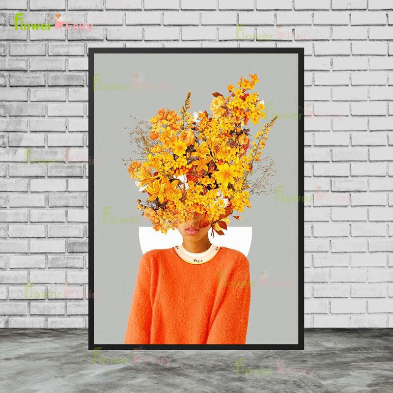 مجردة اللوحة الزخرفية من فتاة و ارتفع الأحرف تحت الزهور الرسم على لوحات القماش الجدارية لغرفة المعيشة ديكور غير المؤطرة