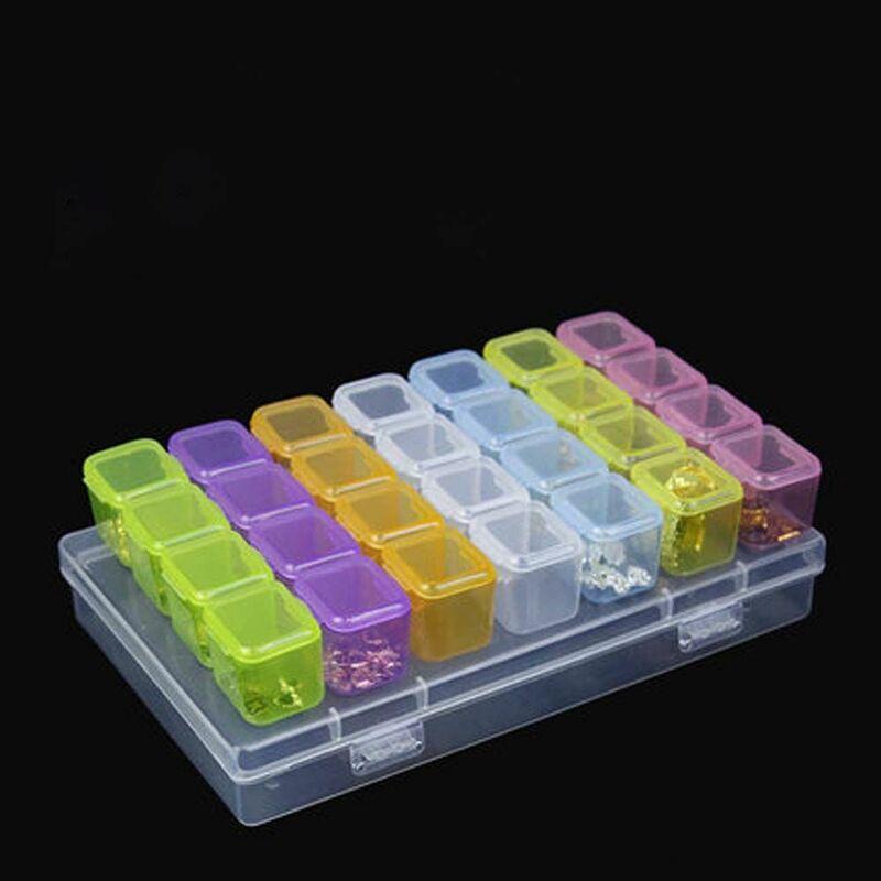 28 فتحات البلاستيك تخزين صندوق مجوهرات مقصورة حاوية قابل للتعديل للالخرز غلاف قرط الاذن للمجوهرات علبة مستطيلة