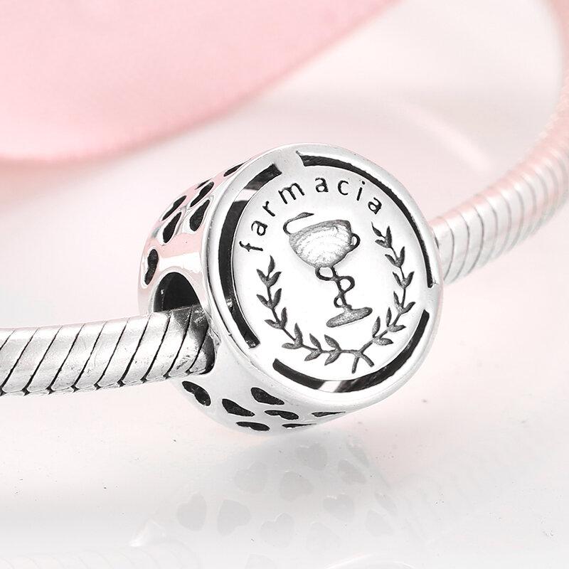 حار أصيلة 925 فضة موضة 12 مهنة الرموز الخرز صالح الأصلي باندورا Charms أساور مجوهرات صنع