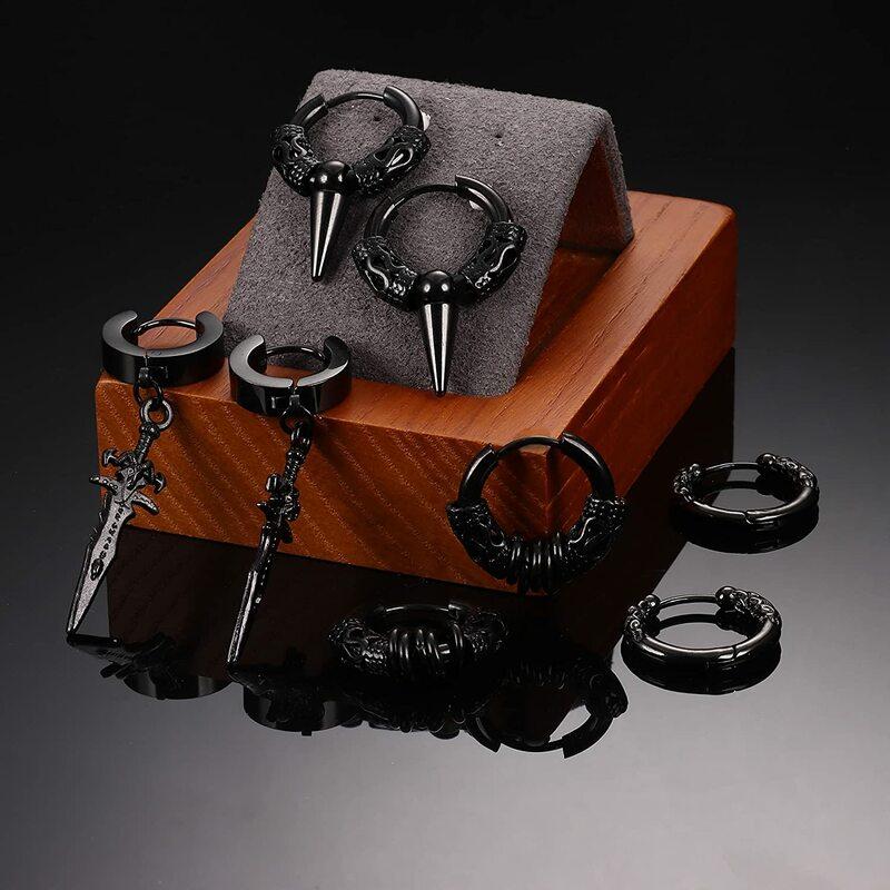 8 زوج الرجال الفولاذ المقاوم للصدأ للنساء أقراط طارة هوجي الشرير الهيب هوب الأسود Vintage ريشة مثلثات السيف قطرة استرخى طقم من الحلقان