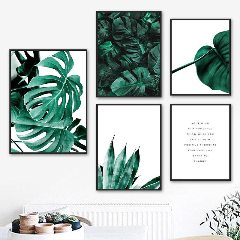 لوحة جدارية من القماش Monstera ، نبات استوائي ، اقتباس ، ملصقات ومطبوعات إسكندنافية ، صور جدارية لغرفة المعيشة ، ديكور المنزل