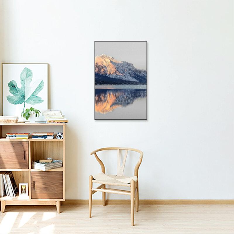 الحديث قماش اللوحة المشارك و طباعة المشهد طباعة الذهبي رمادي الجبال الظل في البحيرة للمنزل غرف معرض ديكور