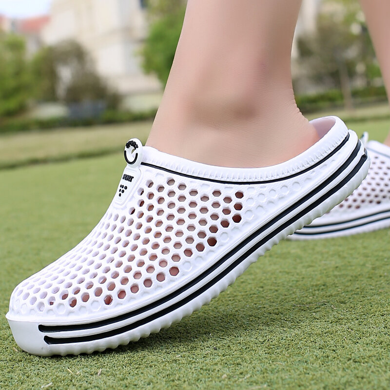 2021 حذاء رجالي شاطئ شبشب رجالي عادية للجنسين الجوف خارج زوجين عادية صندل شاطئ الوجه يتخبط الأحذية عدم الانزلاق الذكور النعال